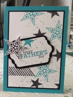 All Stampin' Up products used to make this Father's Day card. Stamp sets used were Simply Stars, Gorgeous Grunge and sentiment from Delightful Dozen. Bermuda bay and basic black inks and card stocks. Whisper white card stock and smokey slate ink. Chalk Talk framelits and scalloped tag topper punch.