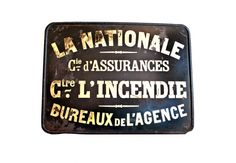 """""""La Nationale"""" French Sign c. 1900's """"La Nationale"""" French black metal sign with brilliant, warm gold lettering. This gorgeous sign would have been mounted outside of the """"National Insurance Agency Office's Fire Center"""" in Toulouse, France, in the early 1900s. http://www.charlieford.com"""