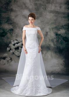 Off-the-shoulder Embroidery Zipper Sweep Sleeveless Taffeta Mermaid White Wedding Dresses