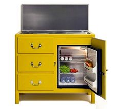 hide a mini fridge in bedroom or TV room, great idea! also like the yellow color of this TV stand.