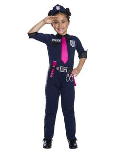 This Girls Barbie Police Officer Costume Includes A Headpiece Jumpsuit With Att Tie Belt Size: S. Girls' Barbie Police Officer Halloween Costume S Multicolored Dark Costumes, Halloween Costumes For Girls, Halloween Kids, Wicked Costumes, Funny Halloween, Police Officer Halloween Costume, Police Hat, Pink Costume, Police Uniforms