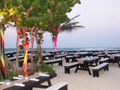 Private Wedding Welcome Reception on the Sunrise Beach at Half Moon, in Montego Bay/RoseHall Jamaica.  #beachwedding #HalfMoonJamaica