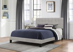 Hillsdale Delaney Bed in One / King Size in Glacier Gray Fabric