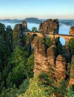 Sächsische Schweiz, Bastei Bridge, Germany.
