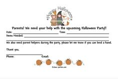 Ask parents to help out at the Halloween event with this volunteer request form!