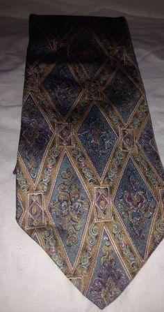 Mens All Silk Tie Cambridge Classics Green And Gold Necktie Tie #CambridgeClassics #Tie