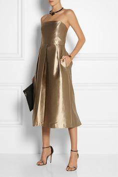 Five Gold Gowns Inspired by Amal |  Tibi | Halcyon Metallic Strapless Taffeta Jumpsuit | via Net-A-Porter