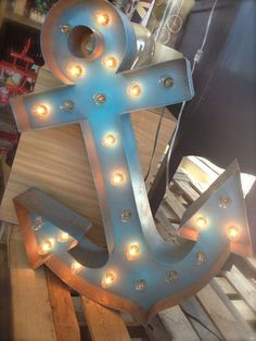 Blue Anchor Vintage Marquee Light on Etsy, $295.00