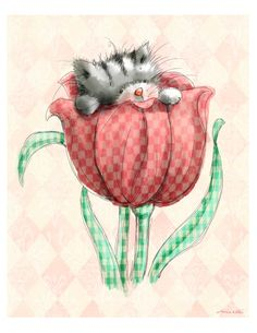 """Cute Kitten Peeping out of a Tulip. 8x10""""  Art Print for Baby Girl's Nursery or Little Girl's Bedroom"""