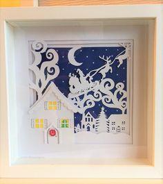 Christmas Shadow Papercut by SundayApplePapercuts on Etsy