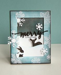 Kara Vrabel for WPlus9 featuring Hand Lettered Holiday Stamps and Dies, Winter Woodland Stamps and Dies, Snowflake Backdrops Stamp Set, Snowflake Trio Dies, Landscape Border Dies, and Holiday Apertures Dies all available 10/5/14