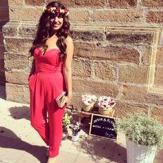 Bodas de Otoño/ Todo al rojo #wedding #bodas #invitadas #red #jumpsuits #mono #flower #tocados #corona #style #fashion #mango
