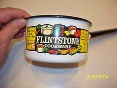 2 Vtg B&W Ceramic Steel Flintstone Cookware Pots US Stamping Co Moundsville WV