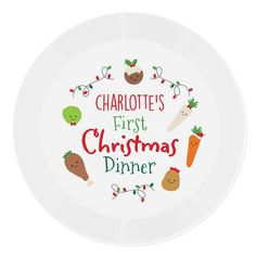 Personalised Plastic Plate - First Christmas Dinner Christmas Dinner Plates, Christmas Cup, Christmas Pudding, First Christmas, Christmas Themes, Rectangle Plates, Plastic Plates, Egg Cups, Cool Kitchens