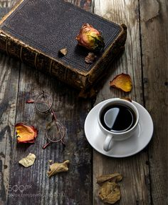Old book and a cup of coffee by tarekkhouzam Still Life Photography #InfluentialLime