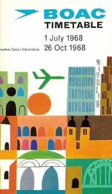 BOAC timetable booklet, 1968, via Bonito Club. #vintage, #design