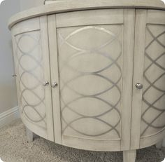 Awesome DIY embellishment idea for furniture - stencil or reverse stencil silver metallic rounded geometric pattern over neutral color paint. Paint Furniture, Furniture Projects, Furniture Makeover, Home Projects, Silver Furniture, Refinished Furniture, Furniture Ads, Furniture Refinishing, Furniture Online