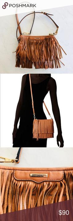 Rebecca Minkoff Finn Clutch Cross Body Bag Brown Tiered fringe amps up the street-chic attitude of a striking leather clutch furnished with an optional crossbody strap that offers effortless hands-free versatility. Top zip closure. Optional, adjustable strap. Interior wall pocket. Condition: some wear shown in pictures Color: almond Rebecca Minkoff Bags Crossbody Bags