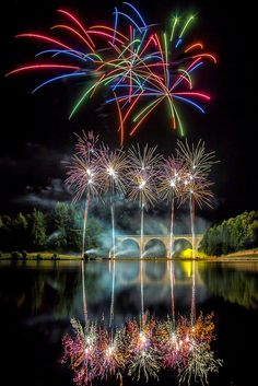 spectacular firework display over the lake at Saint-Yrieix-la-Perche in France