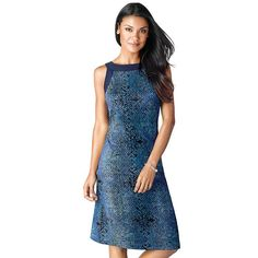 """Lightweight and easy universally flattering sleeveless shift dress in aquamarine-colored snakeskin-like print with solid blue trim around the arm holes and square neckline. Designed to fall at the knee. · 95% Polyester, 5% Spandex · Length from center back/neck: 37"""" (medium); 39"""" (2X) · Machine wash cold with similar colors; do not use chlorine bleach, use only non-chlorine bleach, if needed. · Tumble dry low; Cool iron as needed. · Imported"""