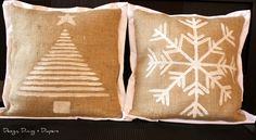 """DIY HOLIDAY BURLAP PILLOWS (me: I could see this done with a lot of themes... """"beach"""" comes to mind immediately) ... http://designdininganddiapers.com/2011/11/diy-burlap-holiday-pillows/#"""