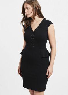 La robe noire style peplum Violeta by Mango, euros Cc Fashion, Violeta By Mango, Plus Size Brands, Studded Dress, Ideias Fashion, Peplum Dress, Scoop Neck, Sweaters, How To Wear