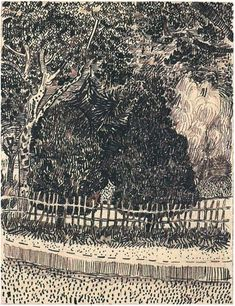 Public Garden with Fence - Vincent van Gogh . Created in Arles in April - late in month, Located at Van Gogh Museum Art Van, Van Gogh Art, Vincent Van Gogh, Van Gogh Drawings, Van Gogh Paintings, Landscape Sketch, Landscape Drawings, Claude Monet, Van Gogh Zeichnungen