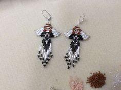 Black Angel Beaded Earrings by Bead4Fun on Etsy