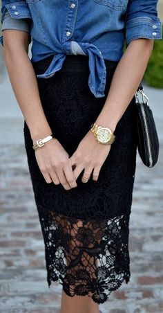 Casual and pretty in a tied up chambray shirt and lace skirt.