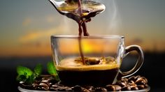 Download wallpaper coffee, coffee beans, flavor, spoon, mint leaves, coffee, miscellanea resolution 1366x768