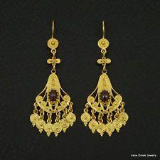 NATURAL GARNET FILIGREE 925 STERLING SILVER 22K GOLD PLATED GREEK ART EARRINGS