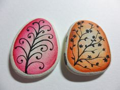 pink and orange painted stones