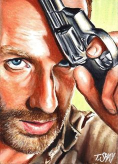Rick Grimes sketch - The Walking Dead by ~Dr-Horrible on deviantART. This is insane Walking Dead Fan Art, Walking Dead Tv Series, Walking Dead Zombies, Fear The Walking Dead, Rick Grimes, Andrew Lincoln, Geeks, Dead Pictures, Funny Pictures