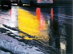"""Judith Miller: Times Square Winter / Red Lights, Oil and acrylic on panel, 30"""" x 40"""""""