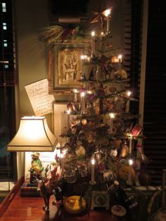 Tabletop feather tree in the study dressed with antique Dresden ornaments Antique Christmas, Santa Christmas, Xmas, Christmas Trees, Tabletop Christmas Tree, Christmas Decorations, Holiday Decor, Feather Tree, Mistletoe