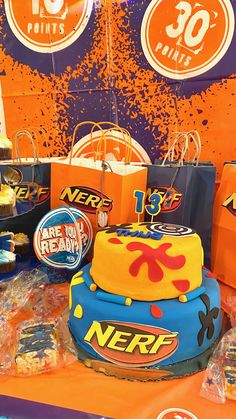 A Nerf brand themed cake and goodie bags for your Nerf loving boy or girl 🎉 Party Places For Kids, Birthday Party Places, Birthday Themes For Boys, Cool Birthday Cakes, Birthday Parties, Nerf Cake, Retro Arcade Games, Nerf Party, Halloween Party Themes