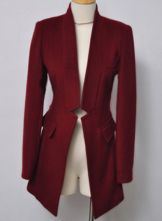 Wine Red High Neck Long Sleeve Gap Coat $90.32