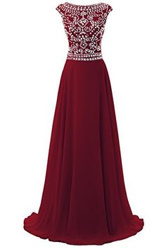4653043be25 Dresstore Women rsquo s Long Chiffon Bridesmaid Dress Cap Sleeves Beaded  Prom Eveing Gown Burgundy US