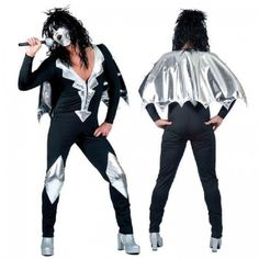 1970s Adult GLAM ROCK STAR JUMPSUIT Fancy Dress Costume Mens 70 s Outfit