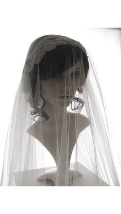Stunning Art Deco juliet cap veil with blusher
