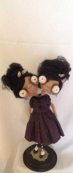 The twins ooak needle felted art doll