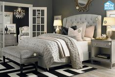 HGTV Home Custom Upholstered Paris Arched Winged Bed by Bassett Furniture contemporary-bedroom Bedroom Sets, Home Bedroom, Master Bedroom Furniture Ideas, Target Bedroom, Glam Master Bedroom, Ikea Bedroom, Bedroom Carpet, Master Bedrooms, Master Suite