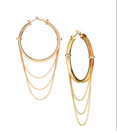 mark's Hang With Me Earrings: classic goldtone hoops with a laid-back cascading chain - perfect for any occasion!