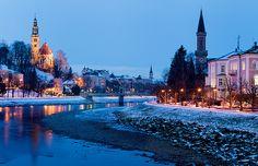 """ღღ Austria - Salzburg: Old Town Meander  ~~~  The Salzach River winds it's way through the Salzburg old town on a cold winter evening.    From Wiki: Salzburg's """"Old Town"""" has internationally renowned baroque architecture and one of the best-preserved city centres north of the Alps. It was listed as a UNESCO World Heritage Site in 1997. The city is noted for its Alpine setting."""