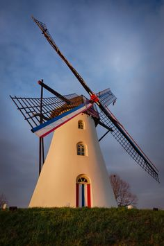 The St. Anna windmill in Weert, the Netherlands during sunset.