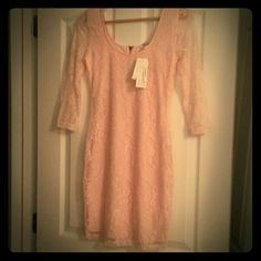 Blush colored Speechless Dress Very cute lace, 3/4 sleeve dress in blush color.  Size M, never worn , with tags. Speechless Dresses Long Sleeve