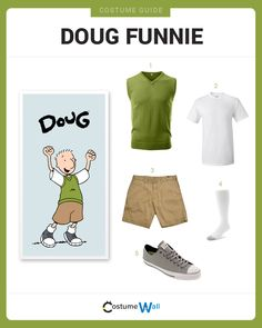 Dress Like Doug Funnie from the show, Doug. See additional costumes and cosplays of Doug and Quail Man. 90s Cartoon Costumes, Got Costumes, 90s Halloween Costumes, 90s Costume, Funny Costumes, Cosplay Costumes, Halloween 2016, Halloween Ideas, Happy Halloween