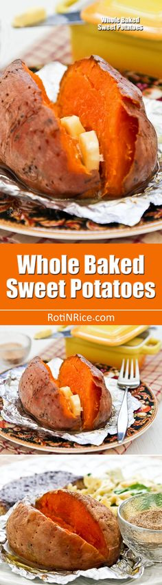 Whole Baked Sweet Potatoes make a great side dish. They are delicious served as is or with a little butter and a sprinkling of cinnamon sugar. | RotiNRice.com Whole Baked Sweet Potato, Sweet Potato Recipes, Real Food Recipes, Sweets Recipes, Easter Recipes, Paleo Recipes, Delicious Recipes, Free Recipes, Desserts