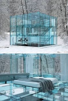 Glass House - created as a concept to showcase Italian company Santambrogio's glass furniture line, from the mind of architect Carlo Santambrogio and designer Enno Arosic [found at: Design Milk] Architecture Design, Amazing Architecture, Architecture Interiors, Italy Architecture, Futuristic Architecture, Contemporary Architecture, Glass House Design, Modern Glass House, Concept Home