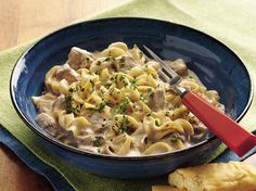 Slow-Cooker Beef Stroganoff Stew - Simple yet savory stroganoff starts with two cans of creamy mushroom soup. What a wonderful way to welcome the family home for dinner!